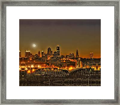 Moon Over Kansas City Mo Framed Print by Don Wolf