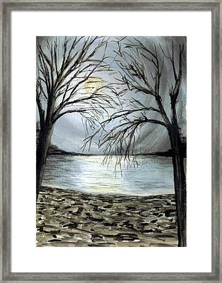Moon Over Lake Framed Print by Terence John Cleary