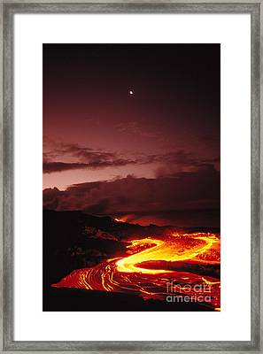 Moon Over Lava At Dawn Framed Print by Peter French - Printscapes
