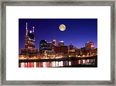 Moon Over Nashville, Tennessee Framed Print by Garland Johnson