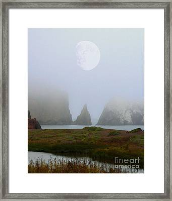 Moon Over Rodeo Beach Framed Print by Wingsdomain Art and Photography