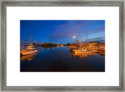 Moon Over Sitka Marina Framed Print by Mike  Dawson