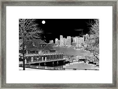 Moon Over Vancouver Framed Print by Will Borden
