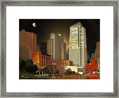 Moon Over Yerba Buena Gardens San Francisco Framed Print by Wingsdomain Art and Photography