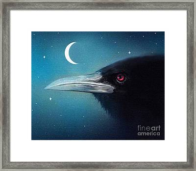 Moon Raven Framed Print by Robert Foster