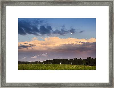 Moon Rise Over Country Fields Sunset Landscape Framed Print by Christina Rollo
