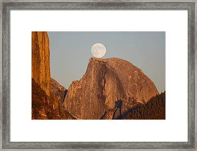Moon Rise Over Half Dome Framed Print by Jeff Sullivan