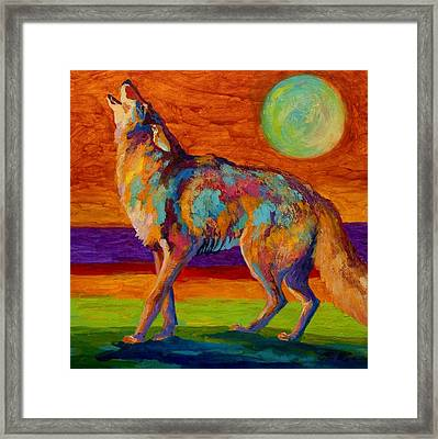 Moon Talk - Coyote Framed Print by Marion Rose