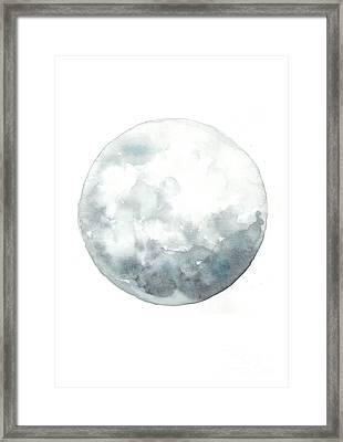 Moon Watercolor Art Print Painting Framed Print by Joanna Szmerdt