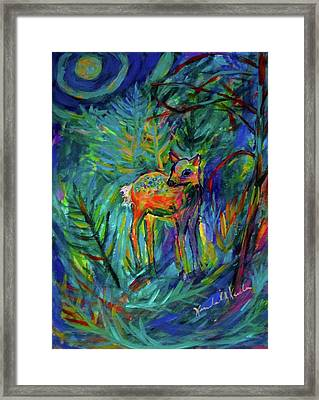 Moonlight Fawn Framed Print by Kendall Kessler