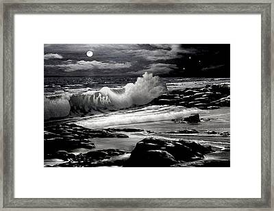 Moonlight On The Beach 2 Framed Print by Ron Chambers