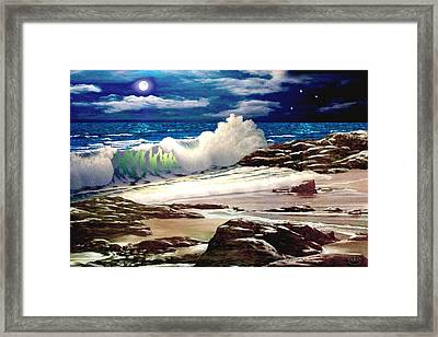Moonlight On The Beach Framed Print by Ron Chambers