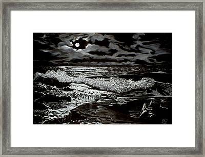 Moonlight On The Rocks Framed Print by Ron Chambers