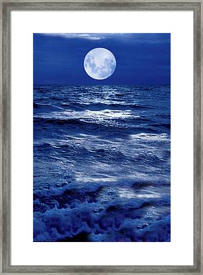 Moonlight Over The Ocean Framed Print by Christian Lagereek