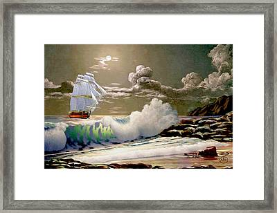 Moonlit Clipper Framed Print by Ron Chambers