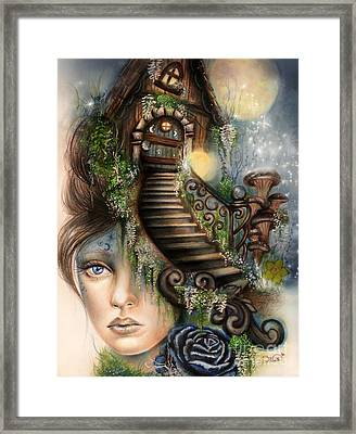 Moonlit Manor  Framed Print by Sheena Pike
