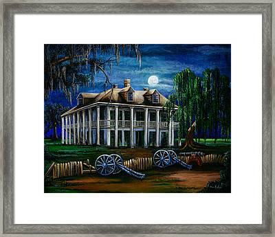 Moonlit Plantation Framed Print by Elaine Hodges
