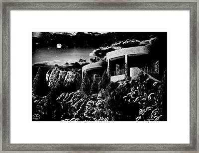Moonlit Sadona Clubhouse Framed Print by Ron Chambers