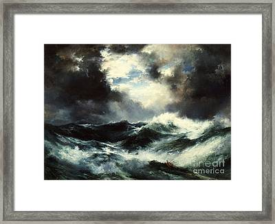 Moonlit Shipwreck At Sea Framed Print by Thomas Moran
