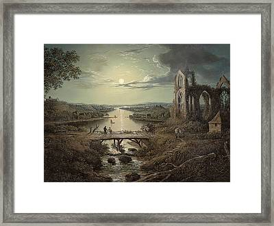 Moonlit View Of The River Tweed With Melrose Abbey In The Foreground And Figures On A Bridge Framed Print by Abraham Pether