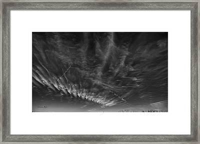 Moonrise And Cirrus Clouds Time Lapse Framed Print by Karen Slagle