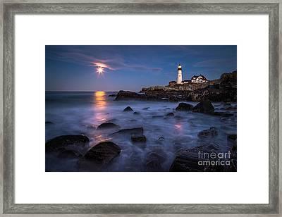Moonrise At Portland Head Light Framed Print by Benjamin Williamson