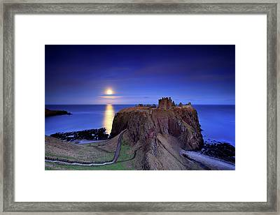 Moonrise Dunnottar Castle Aberdeenshire Scotland Framed Print by Angus Clyne