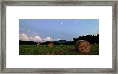 Moonrise Hayfield Framed Print by Jerry LoFaro
