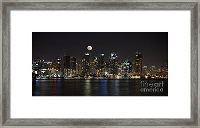 Moonrise Over San Diego Framed Print by Sandra Bronstein