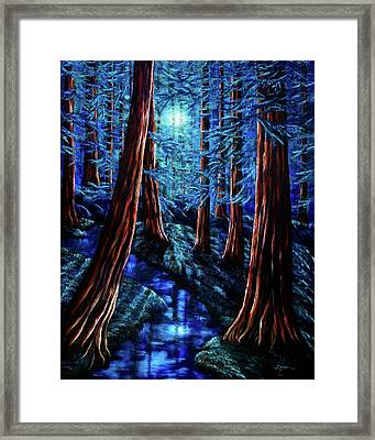 Moonrise Over The Los Altos Redwood Grove Framed Print by Laura Iverson
