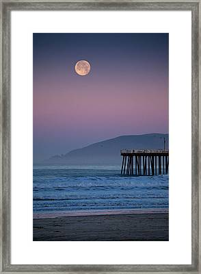 Moonset At Pismo Beach Framed Print by Mimi Ditchie Photography