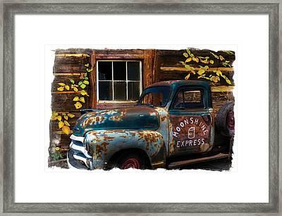 Moonshine Express Bordered Framed Print by Debra and Dave Vanderlaan