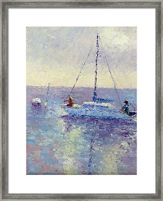 Mooring The Sailboat Framed Print by Terry  Chacon