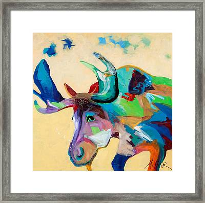Moose And Blue Clouds Framed Print by Tracy Miller