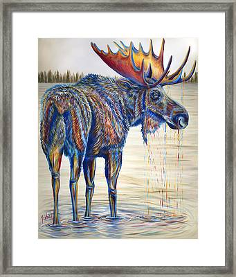 Moose Gathering, 2 Piece Diptych- Piece 1- Left Panel Framed Print by Teshia Art