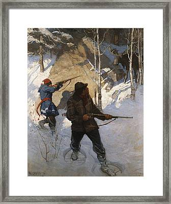 Moose Hunting Framed Print by Newell Convers Wyeth