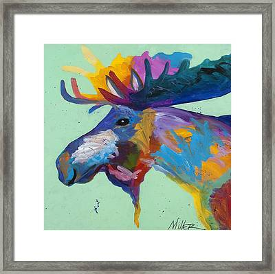 Moose In Green Framed Print by Tracy Miller