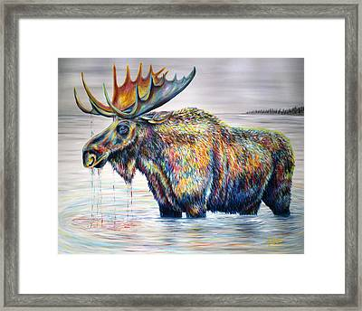 Moose Island Framed Print by Teshia Art