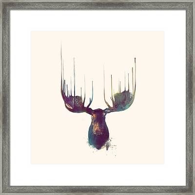 Moose // Squared Format Framed Print by Amy Hamilton