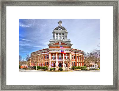 Morgan County Court House Flags Waving Framed Print by Reid Callaway