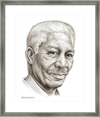 Morgan Freeman Framed Print by Greg Joens