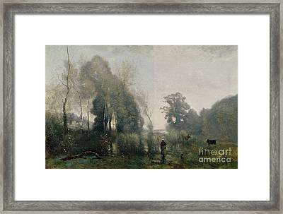 Morning At Ville Davray Framed Print by Jean Baptiste Camille Corot