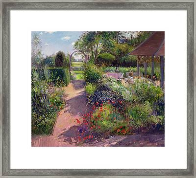 Morning Break In The Garden Framed Print by Timothy Easton