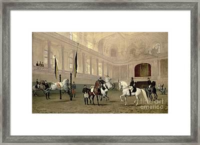 Morning Exercise In The Hofreitschule Framed Print by Julius von Blaas