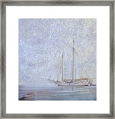 Morning Fog At Wooden Boat Maine Framed Print by Wendy Hill