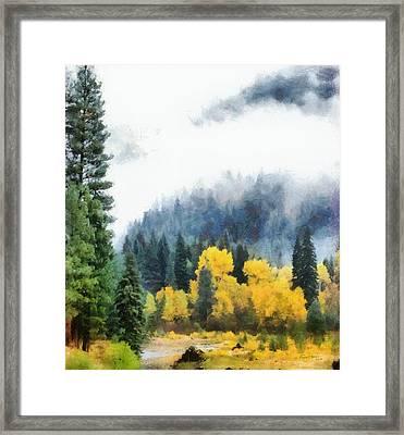 Morning Fog Montana Framed Print by Russ Harris