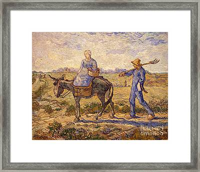 Morning Going Out To Work Framed Print by Vincent Van Gogh