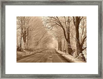 Morning Ice And Fog Framed Print by Deborah Benoit