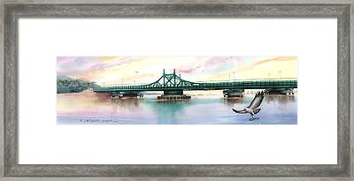 Morning Mist City Island Bridge Framed Print by Marguerite Chadwick-Juner