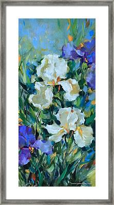 Morning Reverie White Iris Framed Print by Nancy Medina